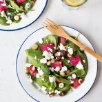 Caramelized Rhubarb & Spinach Salad {flowers on my plate} Rezept für Rhabarber Spinat Salat