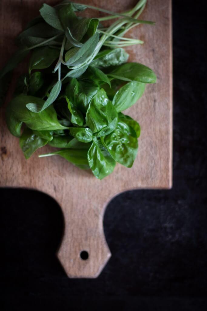 Basilikum & Salbei, Rezept für Kräuterkäse mit Rösttomaten